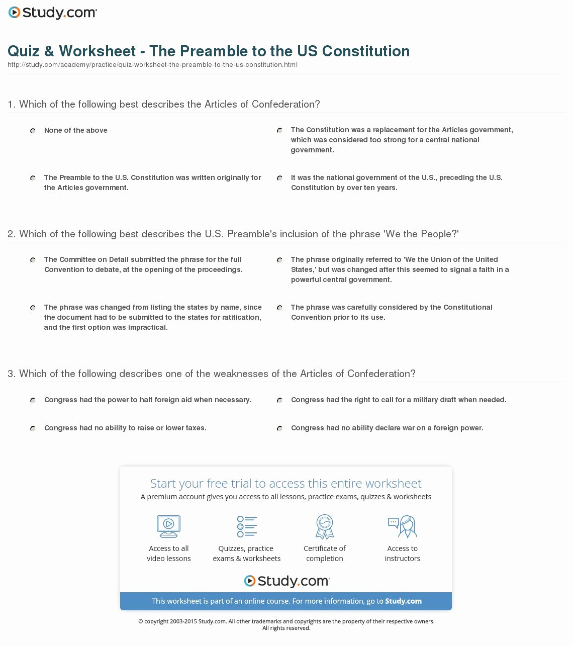 Outline Of the Constitution Worksheet Awesome Preamble Worksheet Worksheets Tutsstar Thousands Of