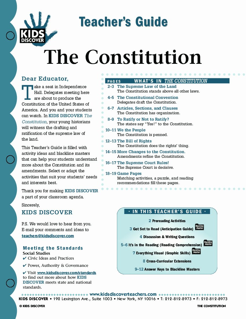 Outline Of the Constitution Worksheet Luxury Constitution Kids Discover