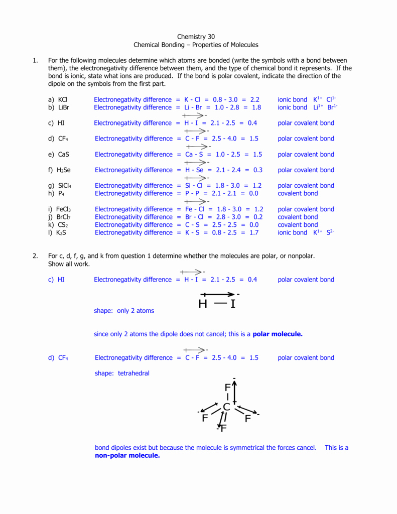 Overview Chemical Bonds Worksheet Answers Beautiful Polar and Nonpolar Molecules Worksheet