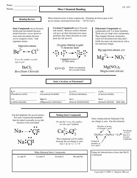 Overview Chemical Bonds Worksheet Answers Lovely Types Bonds Worksheet Breadandhearth