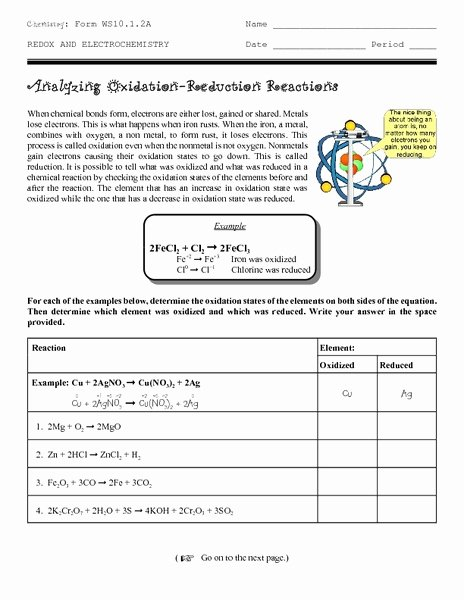 Oxidation and Reduction Worksheet Beautiful Analyzing Oxidation Reduction Reactions Worksheet for 9th