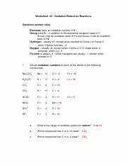 Oxidation and Reduction Worksheet Best Of Worksheet 7 Worksheet 7 Oxidation Reduction Reactions