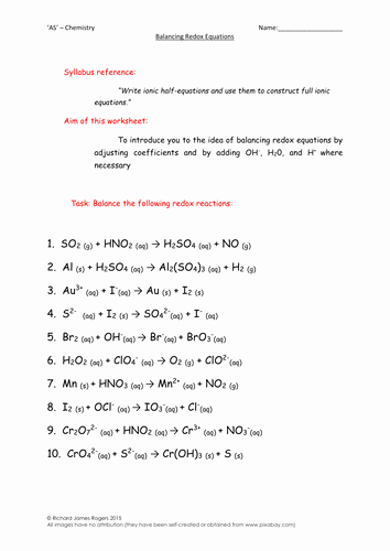 Oxidation and Reduction Worksheet Fresh as Chemistry Balancing Redox Equations Worksheet
