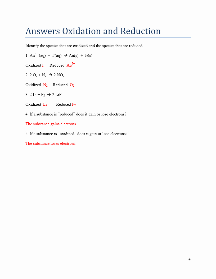 Oxidation and Reduction Worksheet Luxury Answers Oxidation Numbers and Redox Reactions – Stan S Page