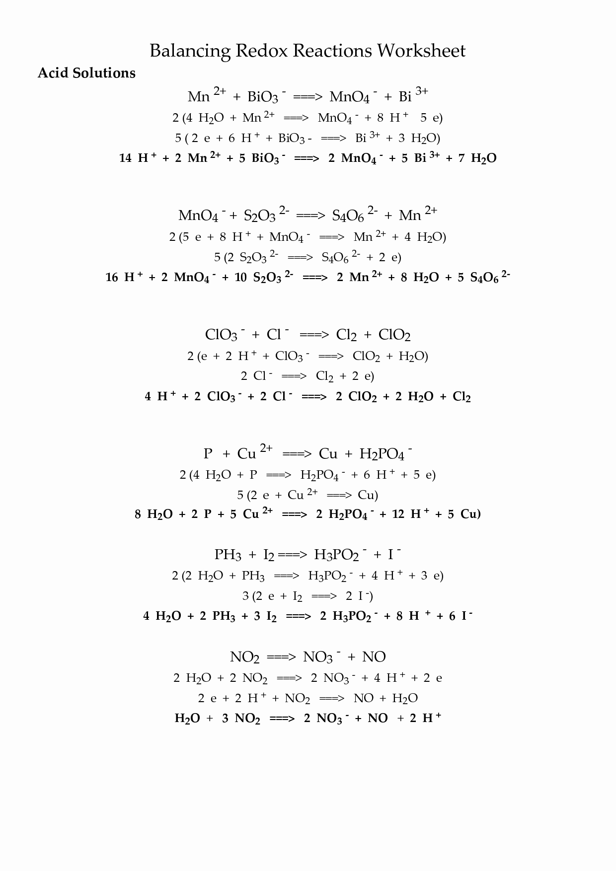 Oxidation and Reduction Worksheet New Oxidation Reduction Reactions Worksheet Pdf Promo Sapin De