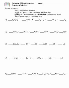 Oxidation and Reduction Worksheet New Redox Bundle Practice Worksheets by the Scientific