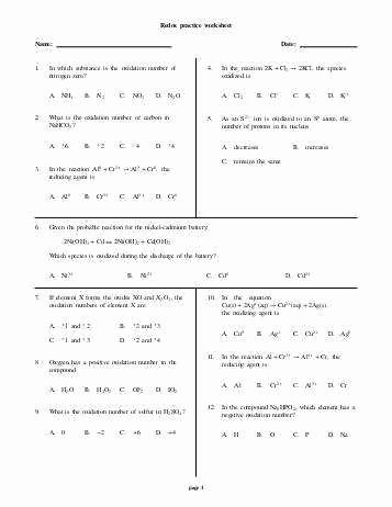 Oxidation and Reduction Worksheet Unique Oxidation Reduction Worksheet
