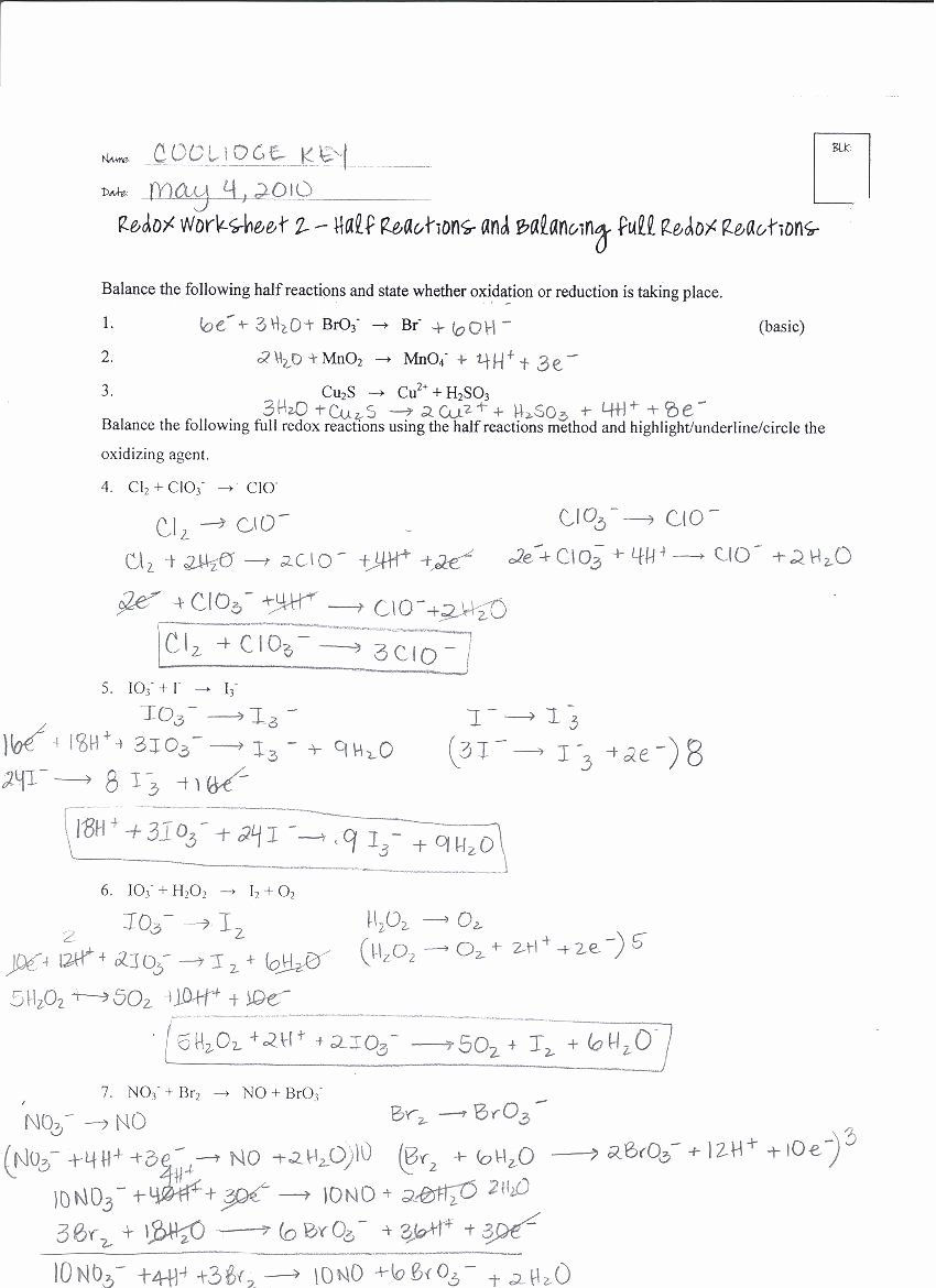 Oxidation Reduction Worksheet Answers Beautiful Chemistry 12