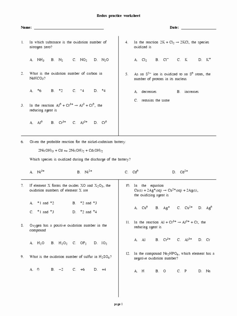 Oxidation Reduction Worksheet Answers Elegant Worksheet Oxidation Reduction Reactions Worksheet Grass