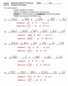 Oxidation Reduction Worksheet Answers Fresh Balancing Redox Reactions Worksheet Siteraven