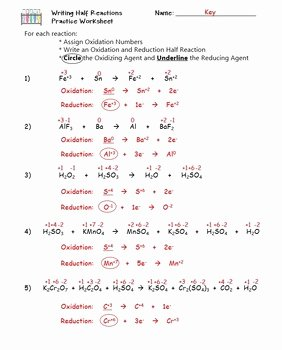 Oxidation Reduction Worksheet Answers Inspirational Redox Writing Half Reactions Practice Worksheet by the