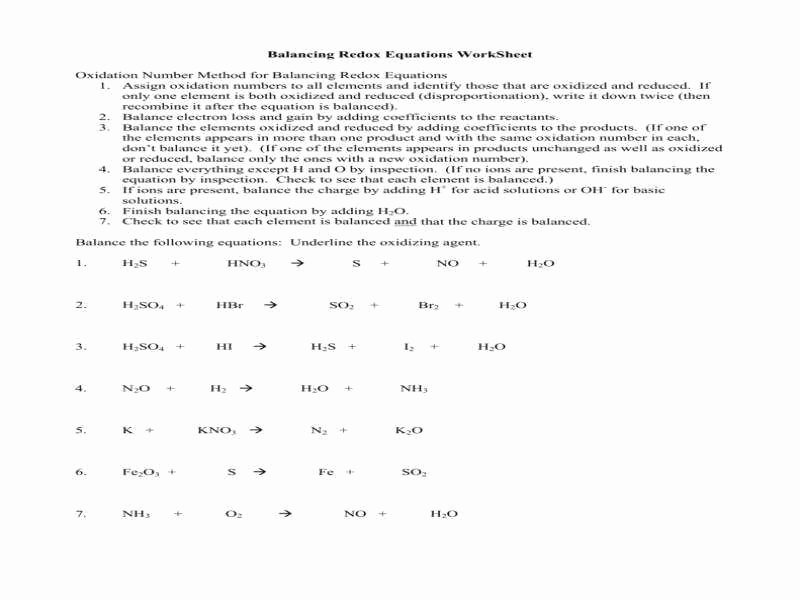Oxidation Reduction Worksheet Answers Lovely Half Equations Worksheet with Answers Tessshebaylo
