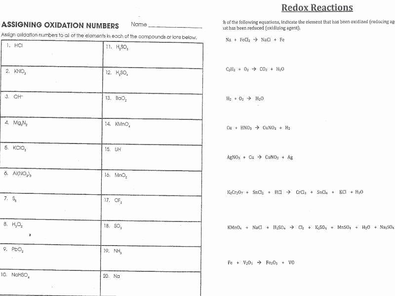 Oxidation Reduction Worksheet Answers Unique Balancing Redox Reactions Worksheet