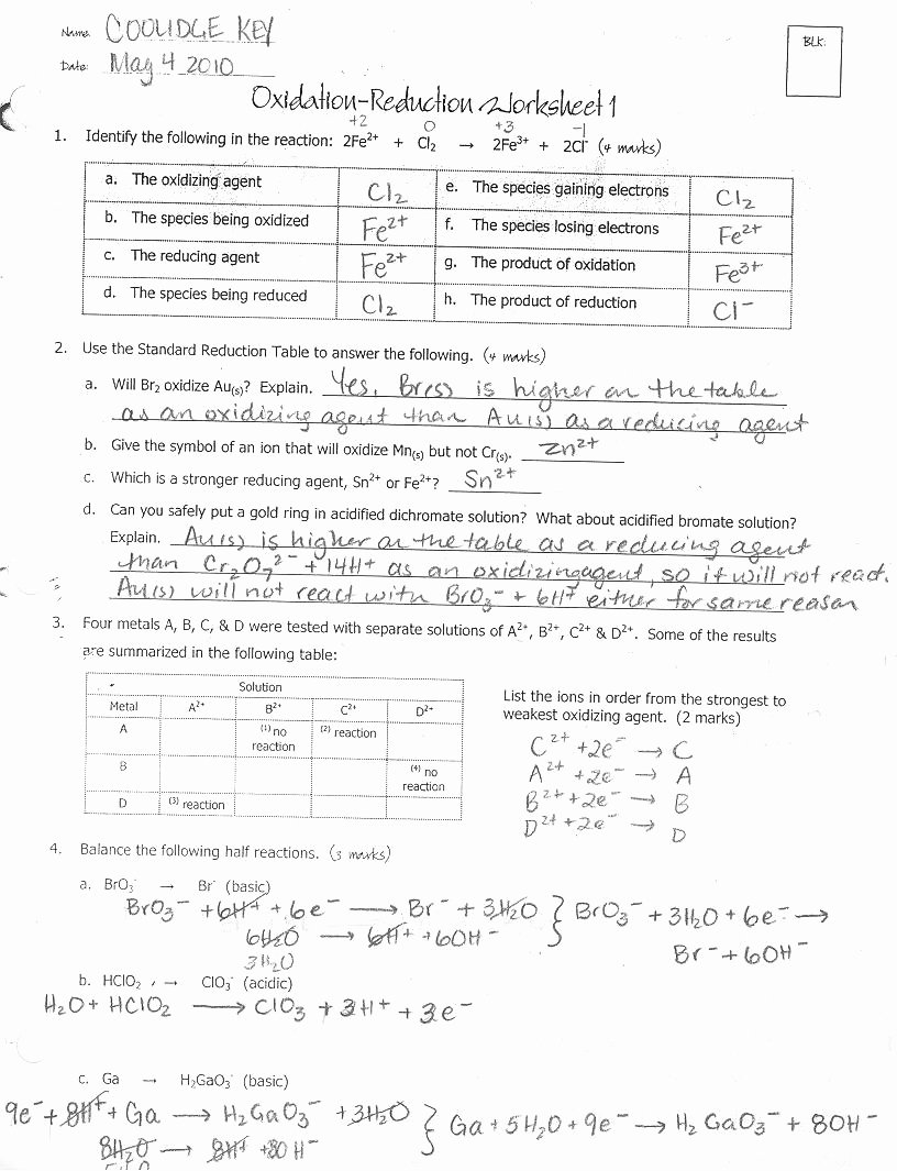 Oxidation Reduction Worksheet Answers Unique Chemistry 12