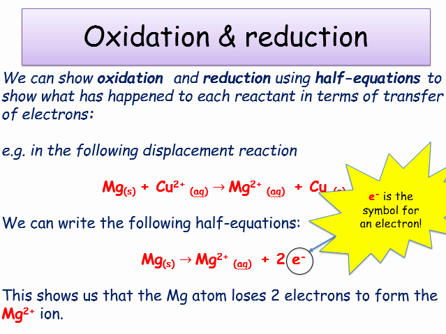 ks4 chemical changes oxidation and reduction teacher powerpoint and student worksheet