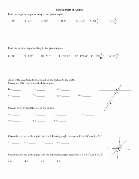 Pairs Of Angles Worksheet Answers Awesome Special Pairs Of Angles Worksheet for 10th 12th Grade