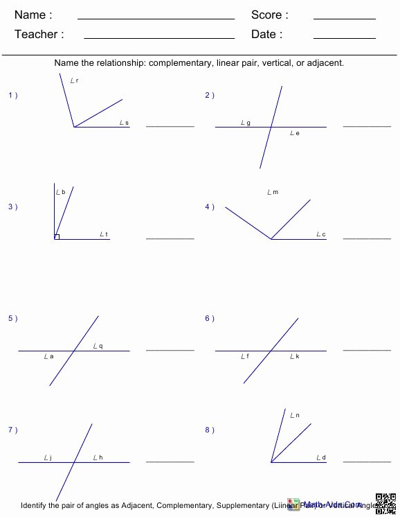 Pairs Of Angles Worksheet Answers Best Of Geometry Spencer County Middle 7th Grade Math