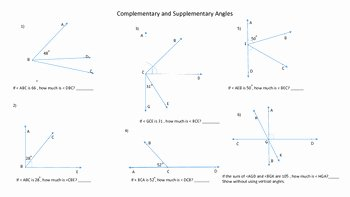 Pairs Of Angles Worksheet Answers New Geometry Plementary Supplementary Angles Worksheet by