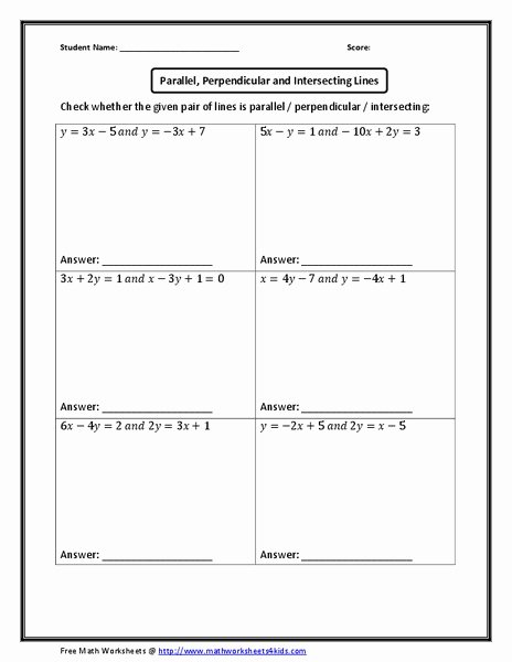 Parallel and Perpendicular Lines Worksheet Beautiful Parallel Perpendicular and Intersecting Lines Worksheet