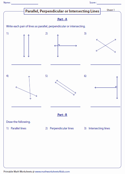 Parallel and Perpendicular Lines Worksheet Fresh Parallel Perpendicular and Intersecting Lines Worksheets