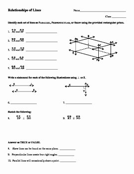 Parallel and Perpendicular Lines Worksheet Luxury Parallel Perpendicular Skew and Intersecting Lines by