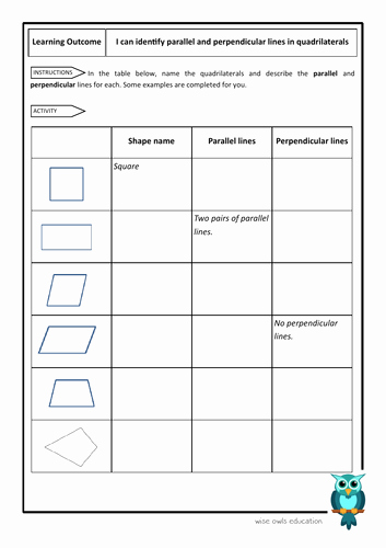 Parallel and Perpendicular Lines Worksheet New Identify and Describe Parallel and Perpendicular Lines In