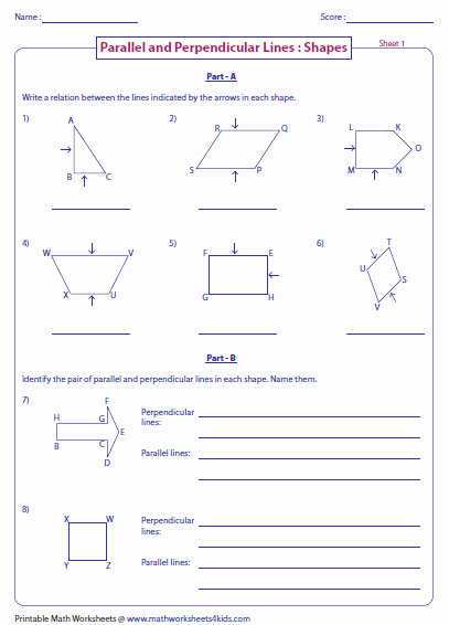 Parallel and Perpendicular Lines Worksheet New Parallel Perpendicular and Intersecting Lines Worksheets