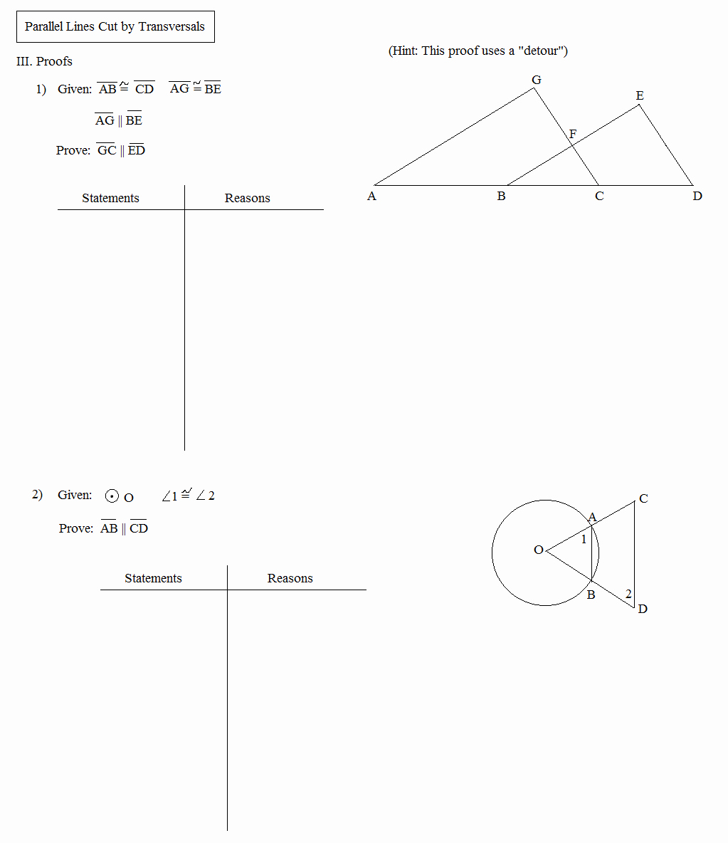 parallel lines cut by a transversal free worksheet
