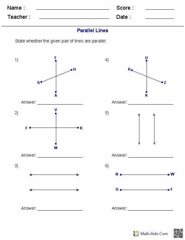 Parallel Lines Proofs Worksheet Answers Beautiful Identifying Parallel Lines Worksheets