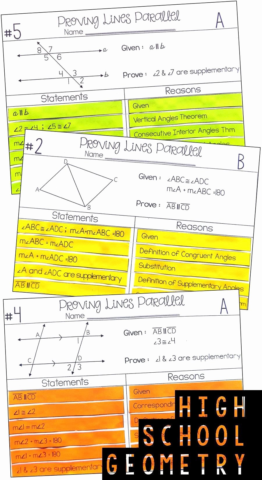 Parallel Lines Proofs Worksheet Answers Best Of Proving Lines Parallel Proof Activity