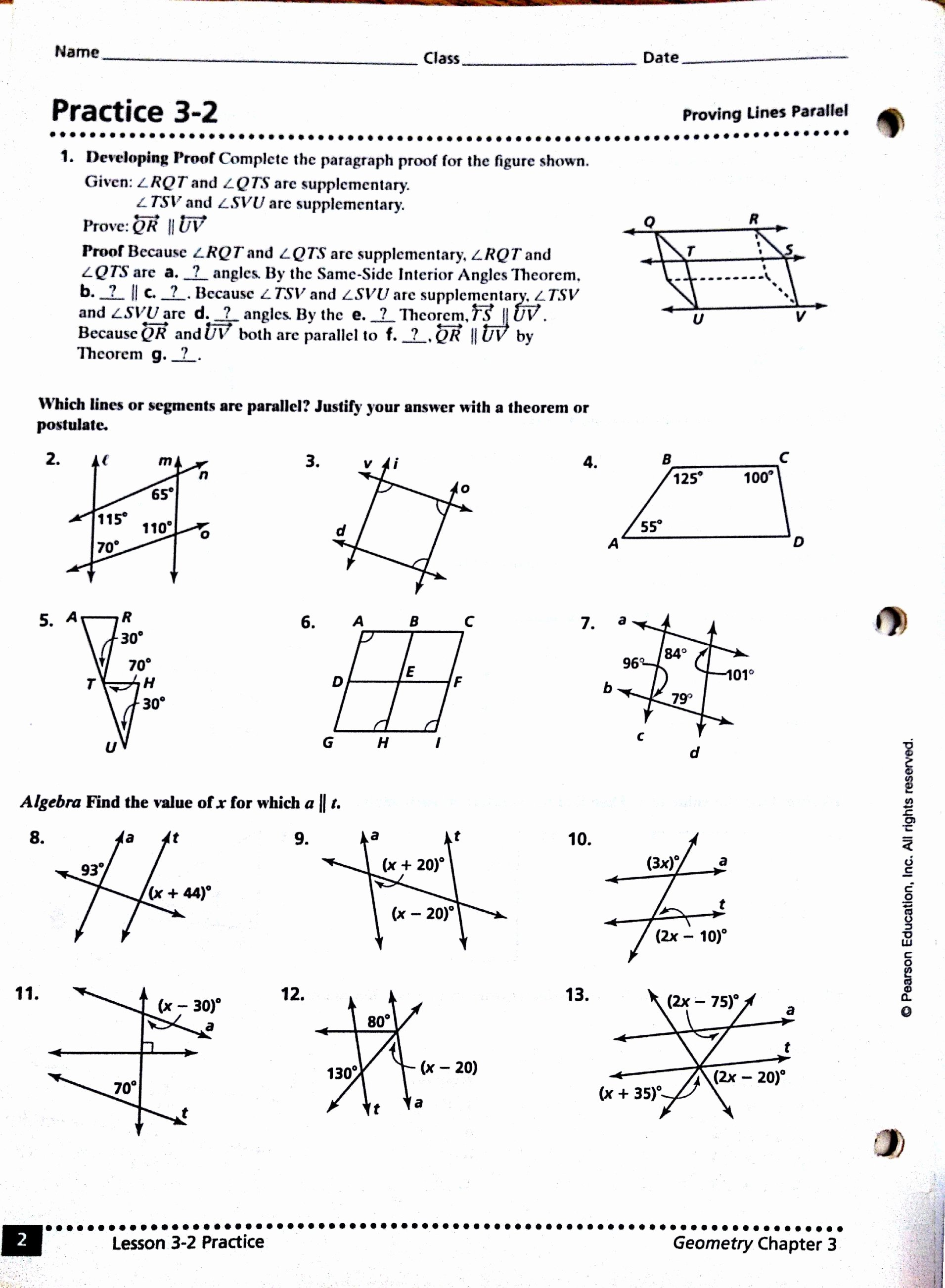 Parallel Lines Proofs Worksheet Answers Elegant Parallel Lines Proofs Worksheet Answers