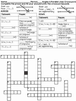 Parallel Lines Proofs Worksheet Answers Lovely Angles and Parallel Lines Geometry Proofs Crossword Puzzle