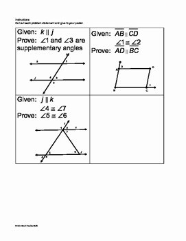 Parallel Lines Proofs Worksheet Answers Luxury Parallel Lines with Transversals Proofs Cut and Paste