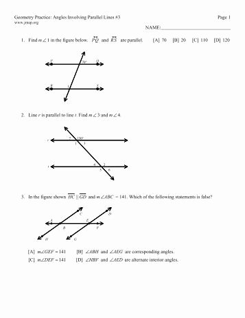 Parallel Lines Proofs Worksheet Answers New Geometry M217 Name Chapter 3 Test Review Date Hour