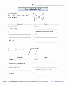 Parallel Lines Proofs Worksheet Answers New Geometry Proofs Worksheets