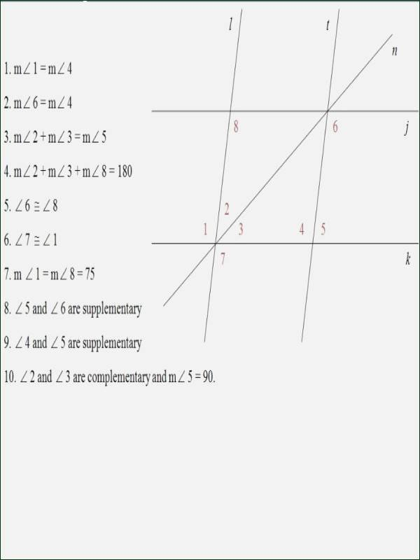 Parallel Lines Proofs Worksheet Answers New Parallel Lines Cut by A Transversal Worksheet