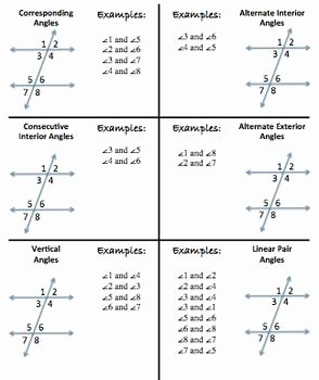 Parallel Lines Proofs Worksheet Answers Unique Parallel Lines Transversals and their Angles Foldable