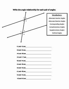 Parallel Lines Transversal Worksheet Best Of Angles formed by Parallel Lines Worksheet