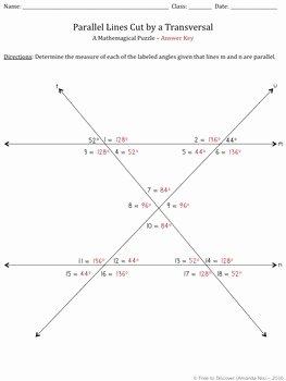 Parallel Lines Transversal Worksheet Best Of Parallel Lines Cut by A Transversal Puzzle by Free to
