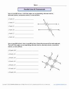 Parallel Lines Transversal Worksheet Elegant Parallel Lines & Transversals