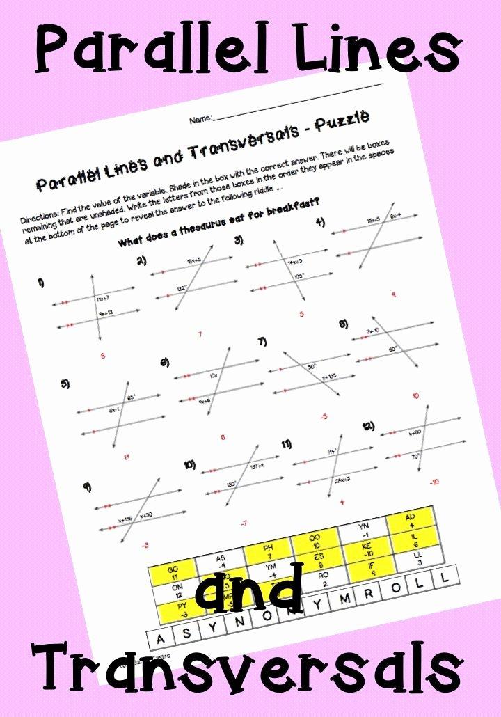 Parallel Lines Transversal Worksheet Lovely Parallel Lines and Transversals Puzzle Worksheet
