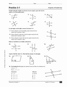 Parallel Lines Transversal Worksheet Lovely Practice 3 1 Properties Of Parallel Lines 8th 10th