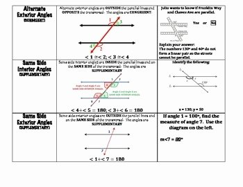 Parallel Lines Transversal Worksheet Unique Angle Relationships Parallel Lines Cut by A Transversal