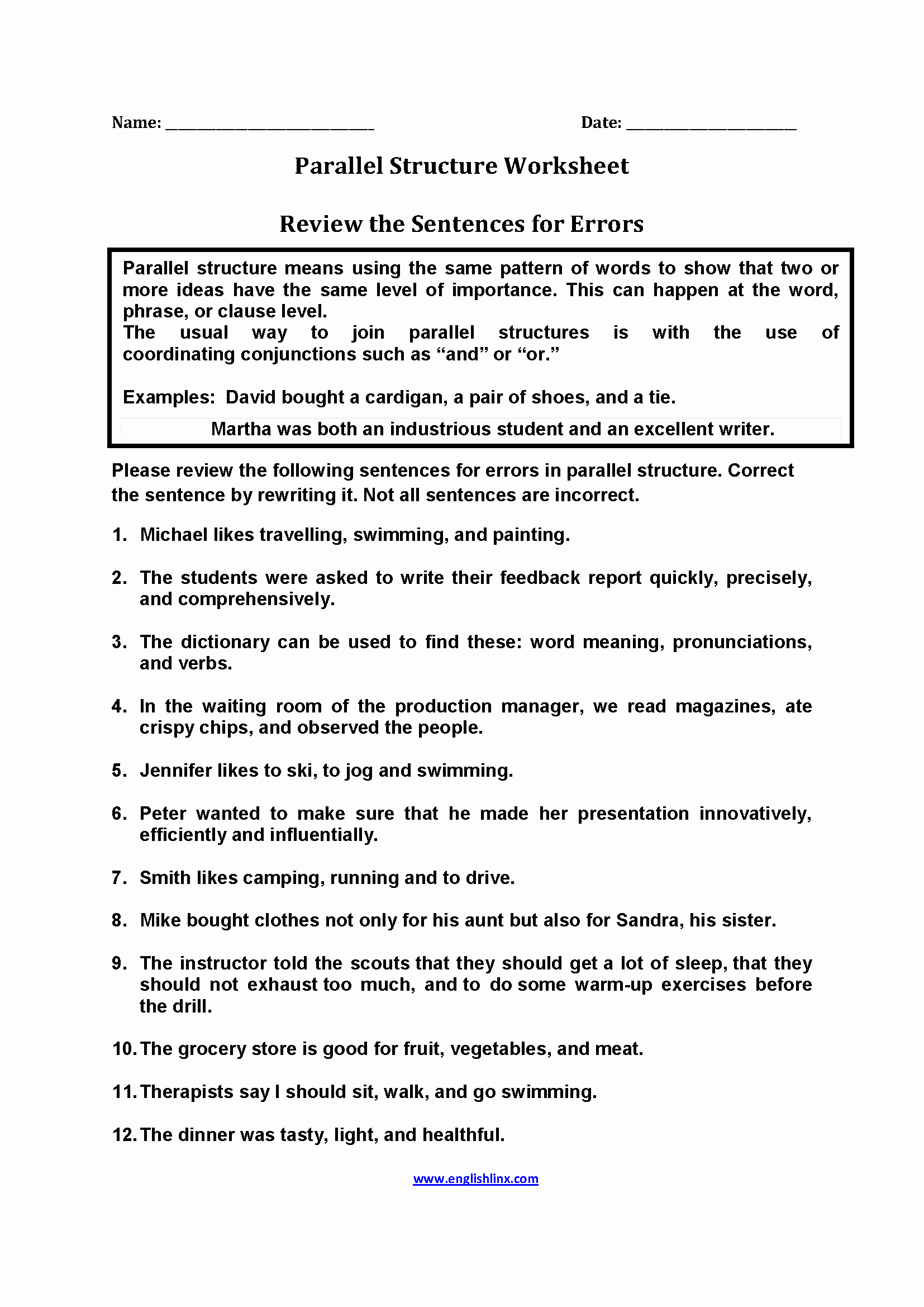 Parallel Structure Worksheet with Answers Awesome Review Sentences for Errors Parallel Structure Worksheets