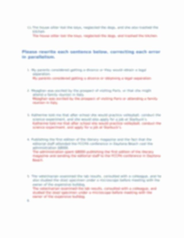 Parallel Structure Worksheet with Answers Elegant Parallelism Worksheet
