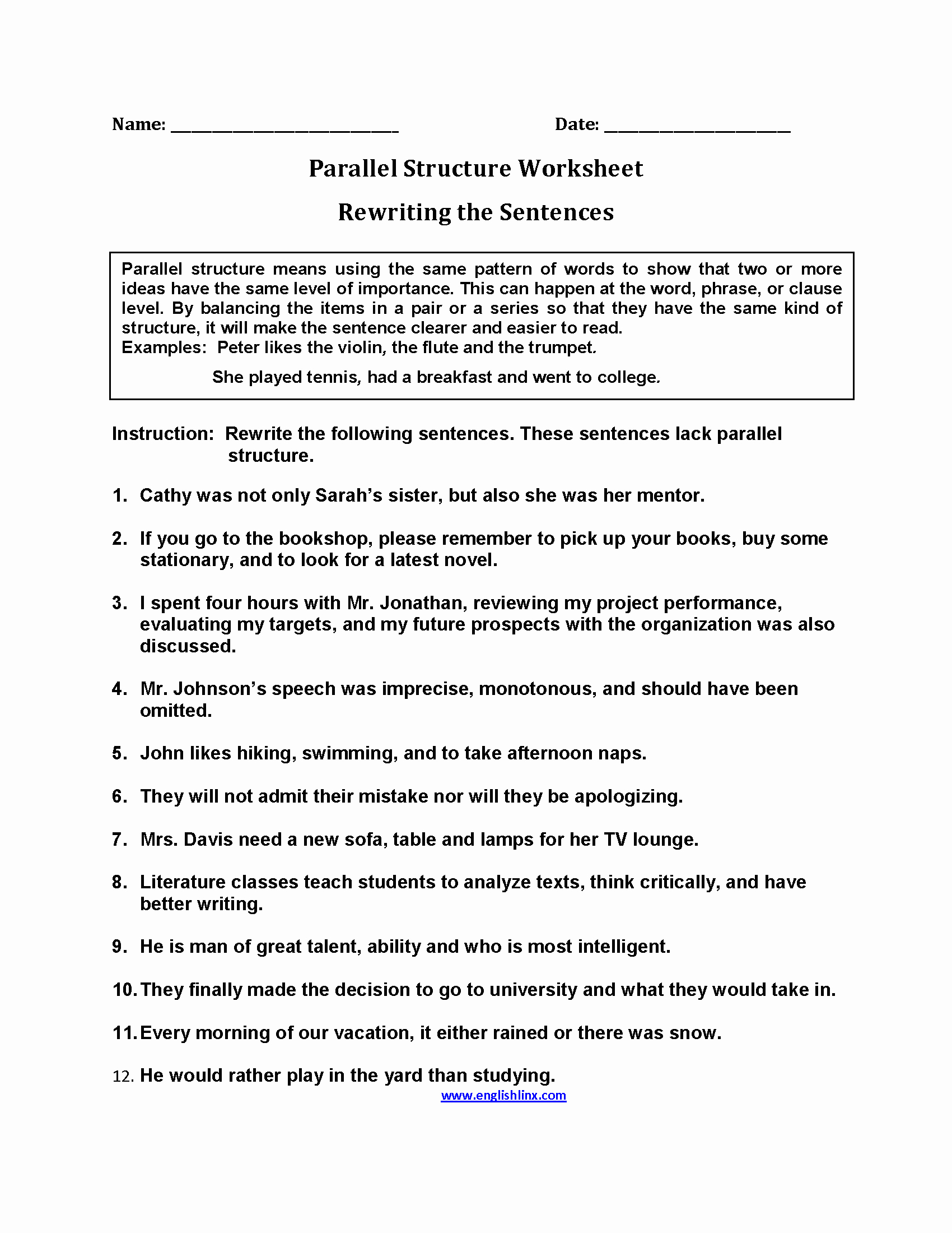 Parallel Structure Worksheet with Answers Elegant Rewriting Sentences Parallel Structure Worksheets