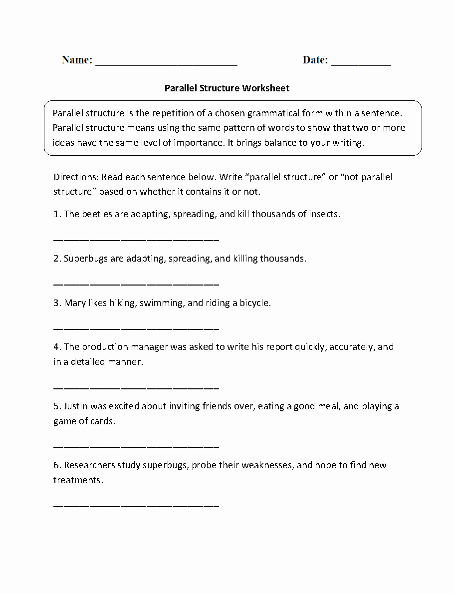 Parallel Structure Worksheet with Answers Inspirational Englishlinx