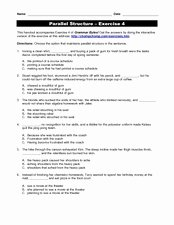 Parallel Structure Worksheet with Answers Inspirational Parallel Structure Practice 5th 12th Grade Worksheet