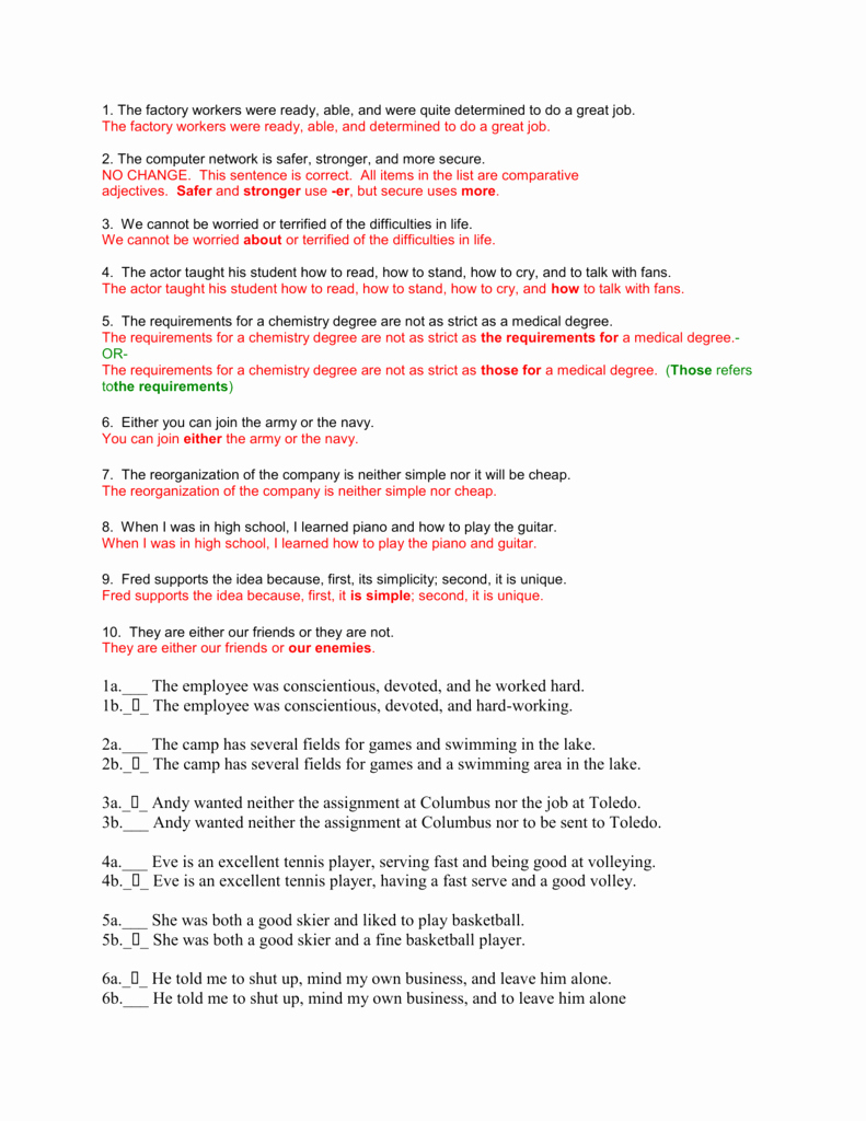 Parallel Structure Worksheet with Answers Luxury Parallel Structure Worksheet Answers Dhs