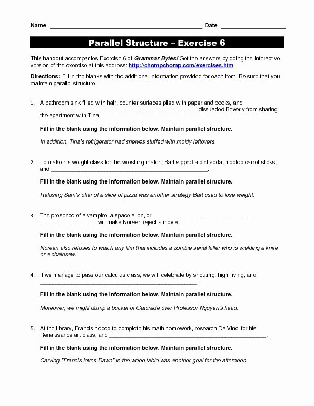 Parallel Structure Worksheet with Answers New Embedded Sentences Lesson Plans & Worksheets Reviewed by